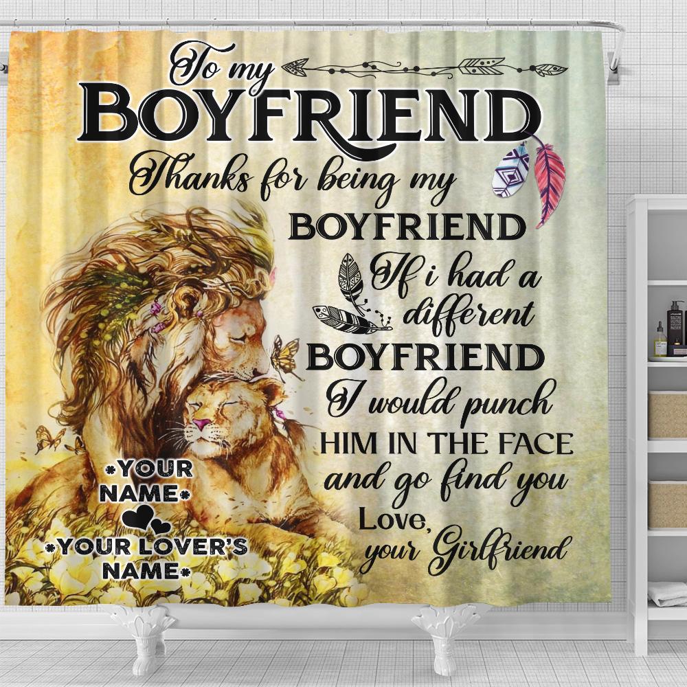 Personalized Lovely Shower Curtain To My Boyfriend Thank You Being My Boyfriend Pattern 1 Set 12 Hooks Decorative Bath Modern Bathroom Accessories Machine Washable