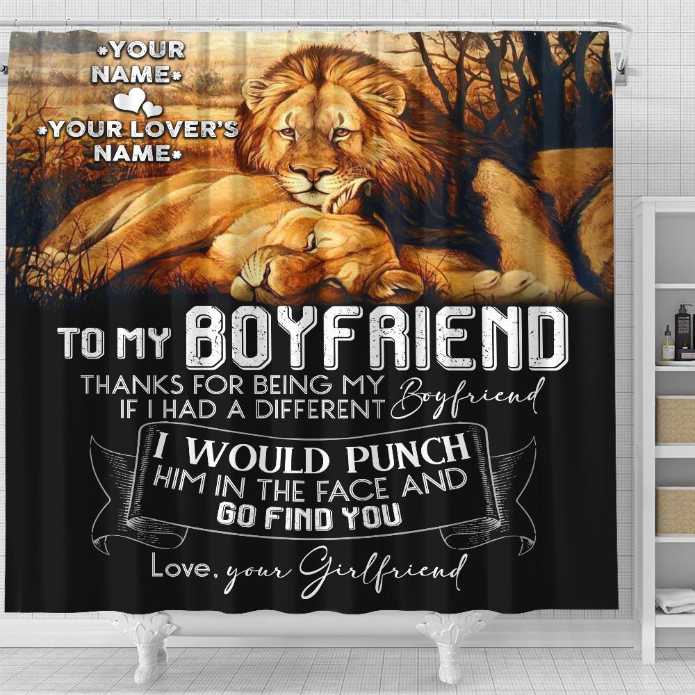 Personalized Lovely Shower Curtain To My Boyfriend Thank You Being My Boyfriend Pattern 2 Set 12 Hooks Decorative Bath Modern Bathroom Accessories Machine Washable