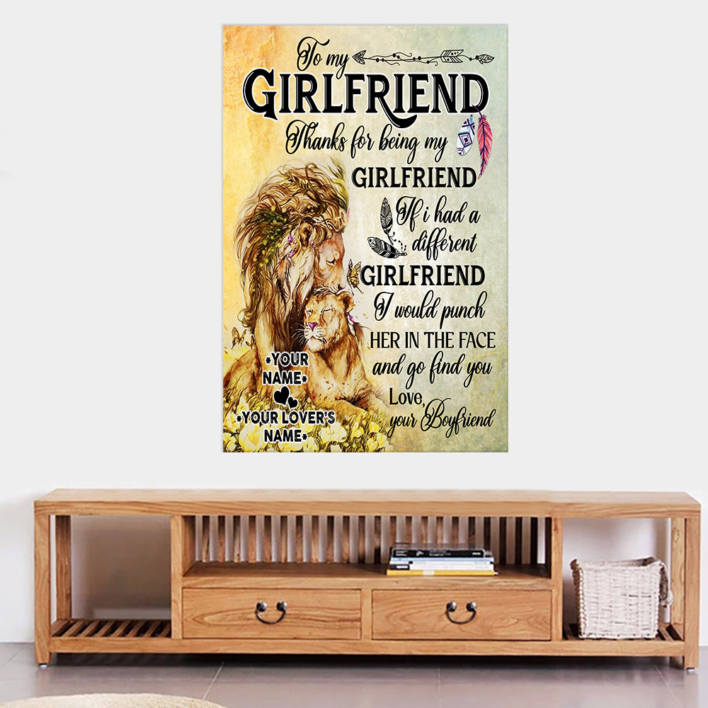 Personalized Lovely Wall Art Poster To My Girlfriend Thank You Being My Girlfriend Pattern 1 Prints Decoracion Wall Art Picture Living Room Wall
