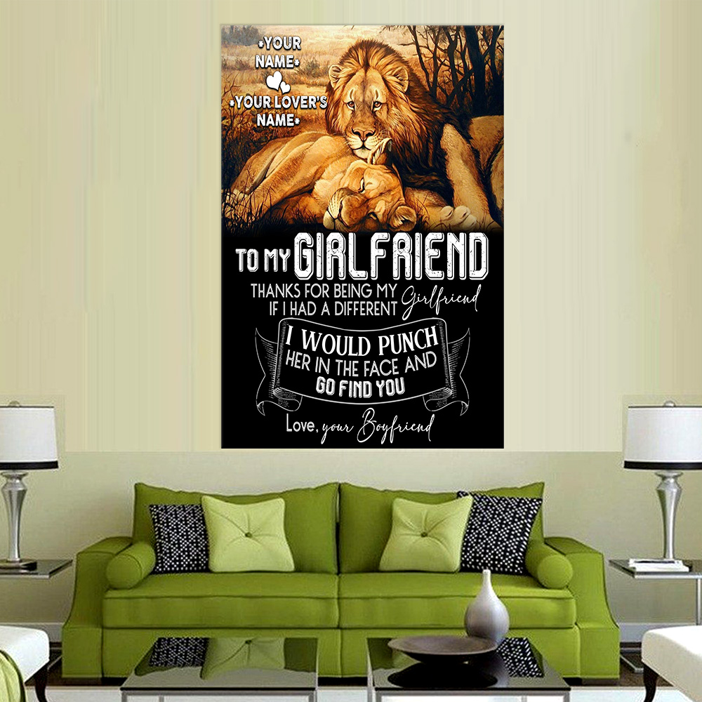 Personalized Lovely Wall Art Poster To My Girlfriend Thank You Being My Girlfriend Pattern 2 Prints Decoracion Wall Art Picture Living Room Wall