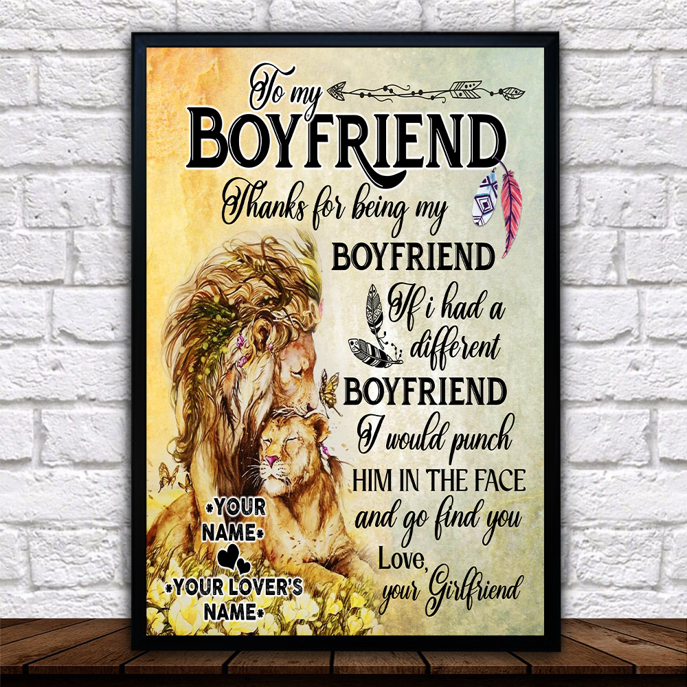 Personalized Lovely Wall Art Poster To My Boyfriend Thank You Being My Boyfriend Pattern 1 Prints Decoracion Wall Art Picture Living Room Wall