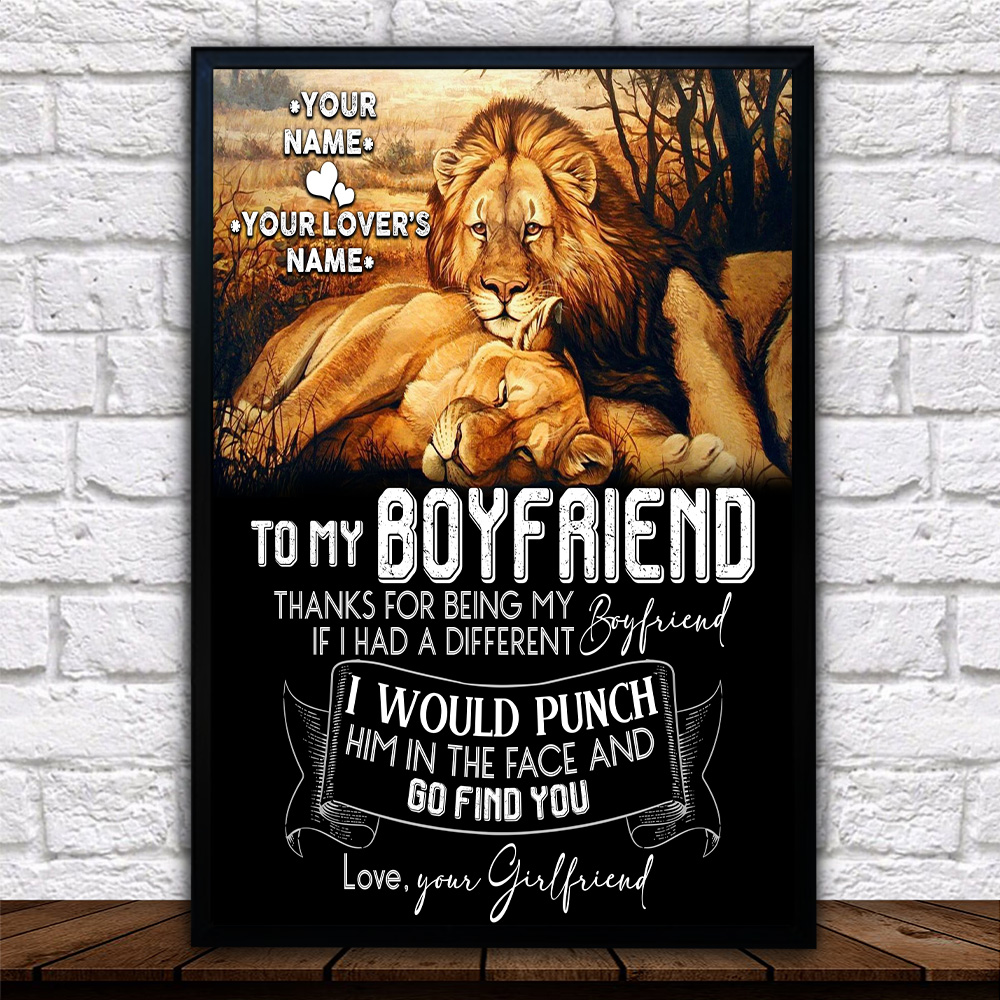 Personalized Lovely Wall Art Poster To My Boyfriend Thank You Being My Boyfriend Pattern 2  Prints Decoracion Wall Art Picture Living Room Wall