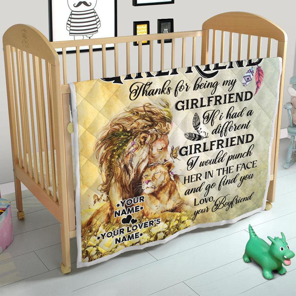 Personalized Lovely Quilt Throw Blanket To My Girlfriend Thank You Being My Girlfriend Pattern 1 Lightweight Super Soft Cozy For Decorative Couch Sofa Bed