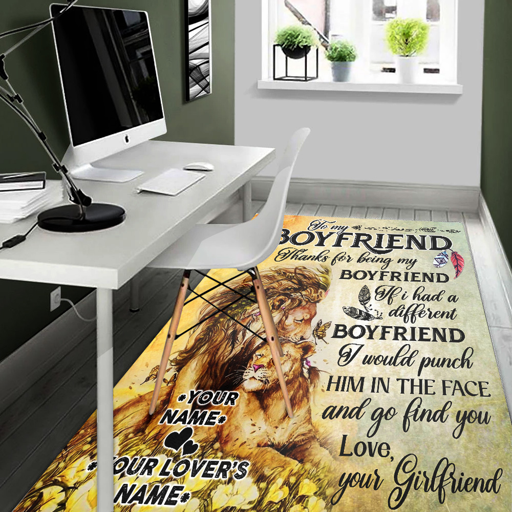 Personalized Lovely To My Boyfriend Thank You Being My Boyfriend Pattern 1 Vintage Area Rug Anti-Skid Floor Carpet For Living Room Dinning Room Bedroom Office