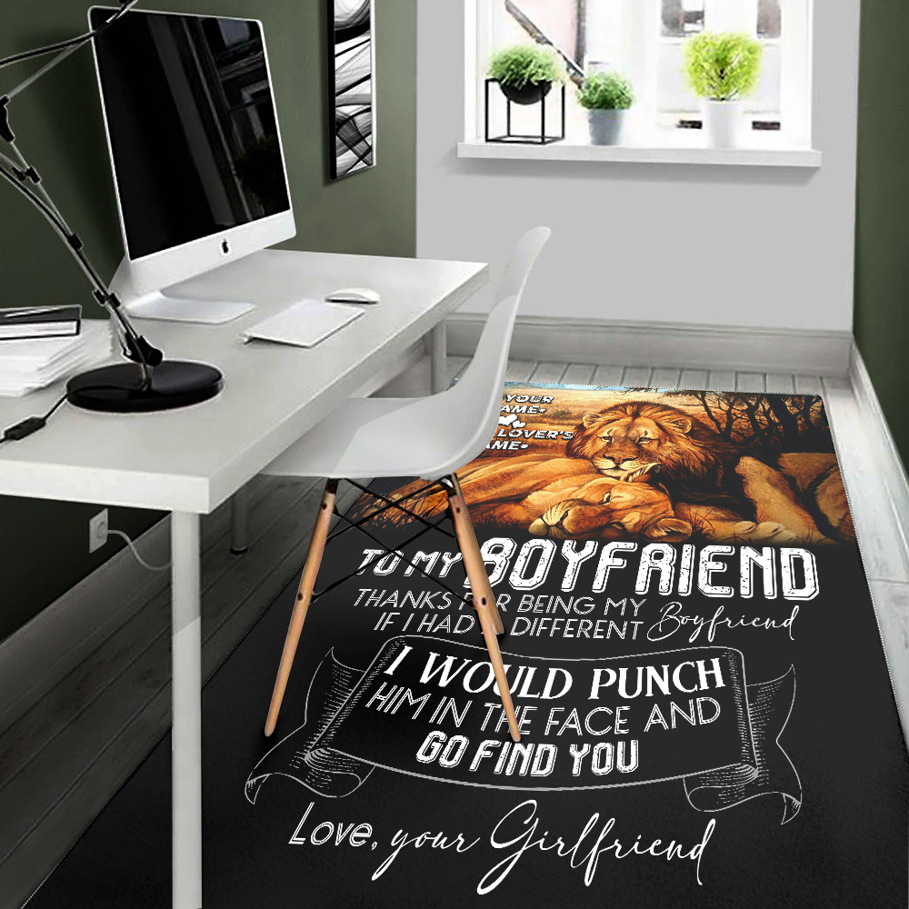 Personalized Lovely To My Boyfriend Thank You Being My Boyfriend Pattern 2 Vintage Area Rug Anti-Skid Floor Carpet For Living Room Dinning Room Bedroom Office