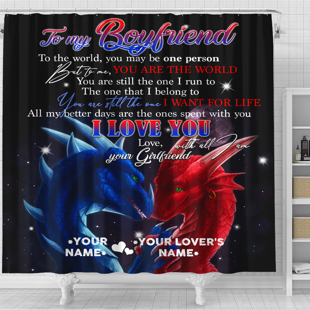 Personalized Lovely Shower Curtain To My Boyfriend I Love You With All Am I Pattern 1 Set 12 Hooks Decorative Bath Modern Bathroom Accessories Machine Washable