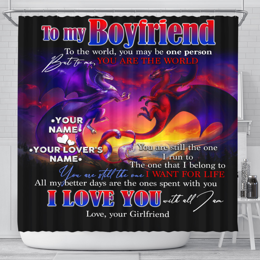 Personalized Lovely Shower Curtain To My Boyfriend I Love You With All Am I Pattern 2 Set 12 Hooks Decorative Bath Modern Bathroom Accessories Machine Washable