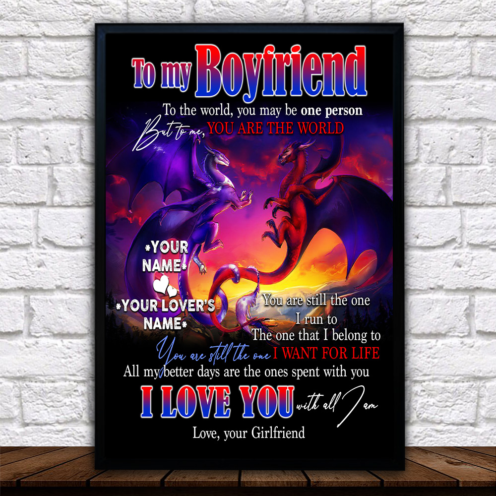 Personalized Lovely Wall Art Poster To My Boyfriend I Love You With All Am I Pattern 2 Prints Decoracion Wall Art Picture Living Room Wall
