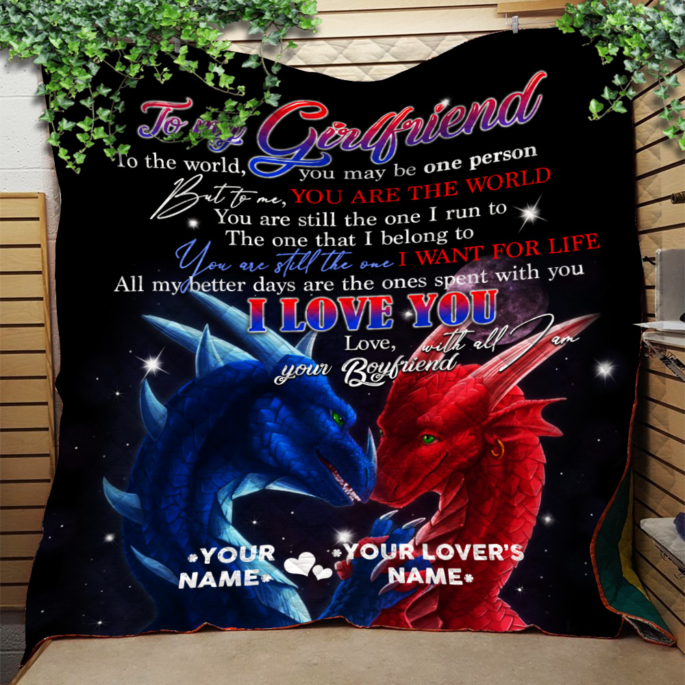 Personalized Lovely Quilt Throw Blanket To My Girlfriend I Love You With All Am I Pattern 1 Lightweight Super Soft Cozy For Decorative Couch Sofa Bed