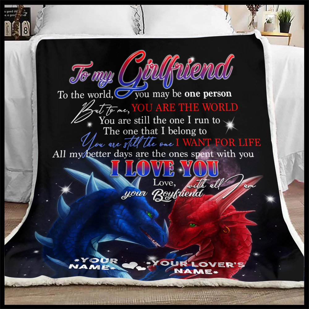 Personalized Lovely Fleece Throw Blanket To My Girlfriend I Love You With All Am I Pattern 1 Lightweight Super Soft Cozy For Decorative Couch Sofa Bed