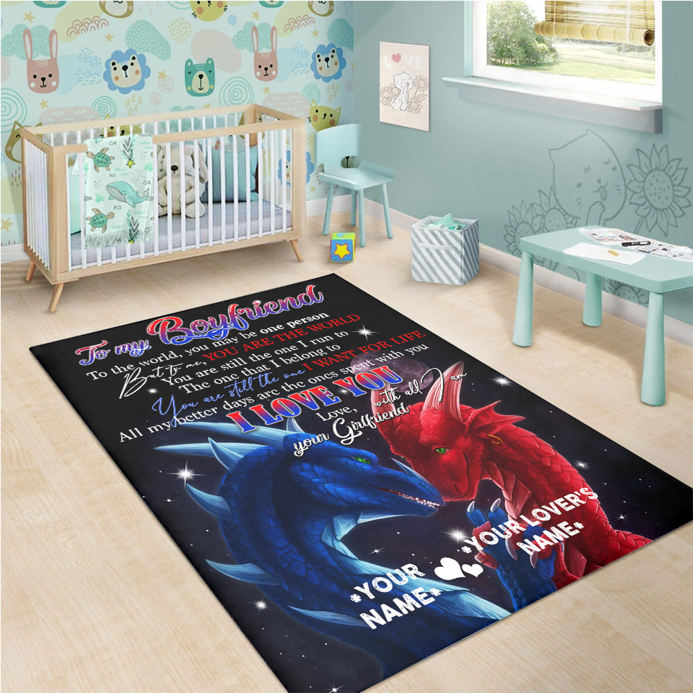 Personalized Lovely To My Boyfriend I Love You With All Am I Pattern 1 Vintage Area Rug Anti-Skid Floor Carpet For Living Room Dinning Room Bedroom Office