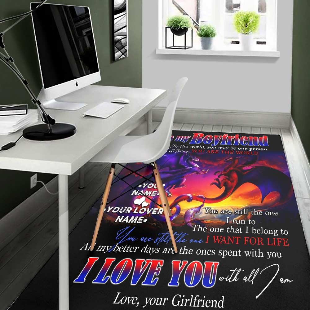 Personalized Lovely To My Boyfriend I Love You With All Am I Pattern 2 Vintage Area Rug Anti-Skid Floor Carpet For Living Room Dinning Room Bedroom Office