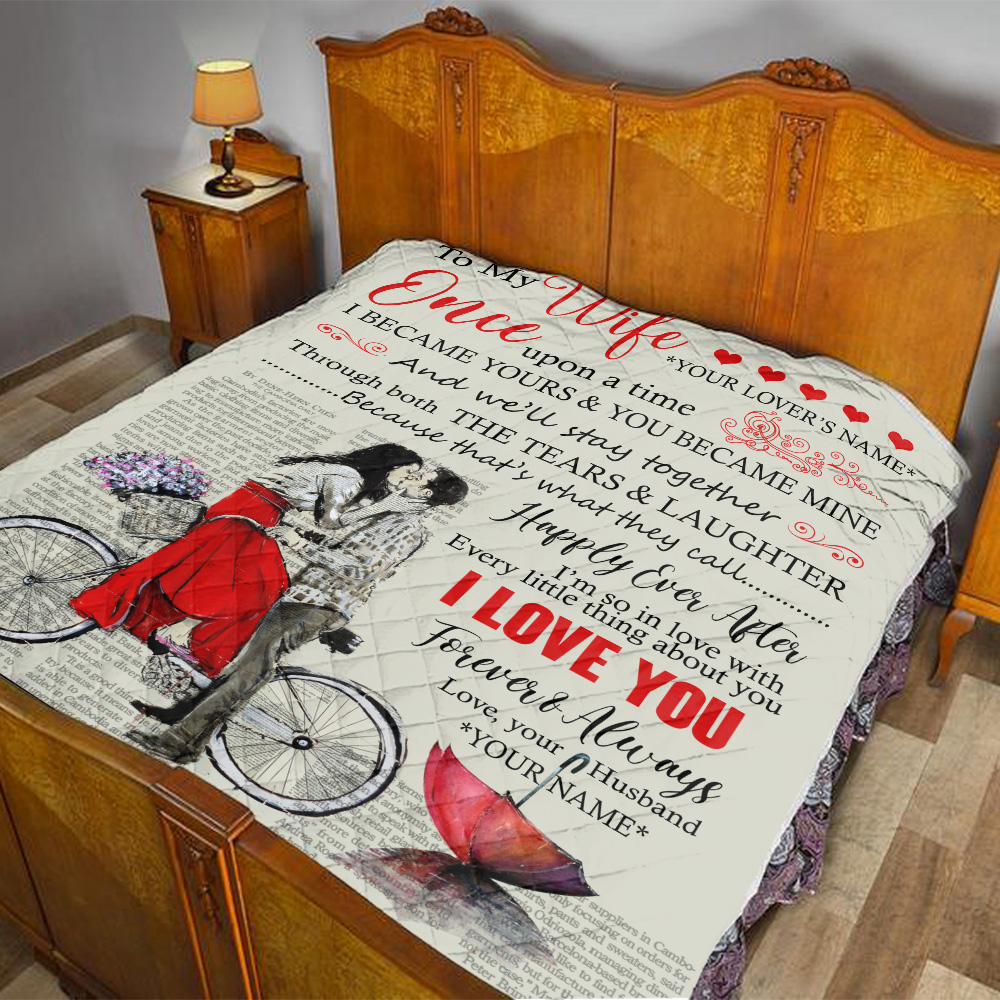 Personalized Quilt Throw Blanket To My Wife Once Upon A Time I Became Yours & You Became Mine Pattern 1 Lightweight Super Soft Cozy For Decorative Couch Sofa Bed