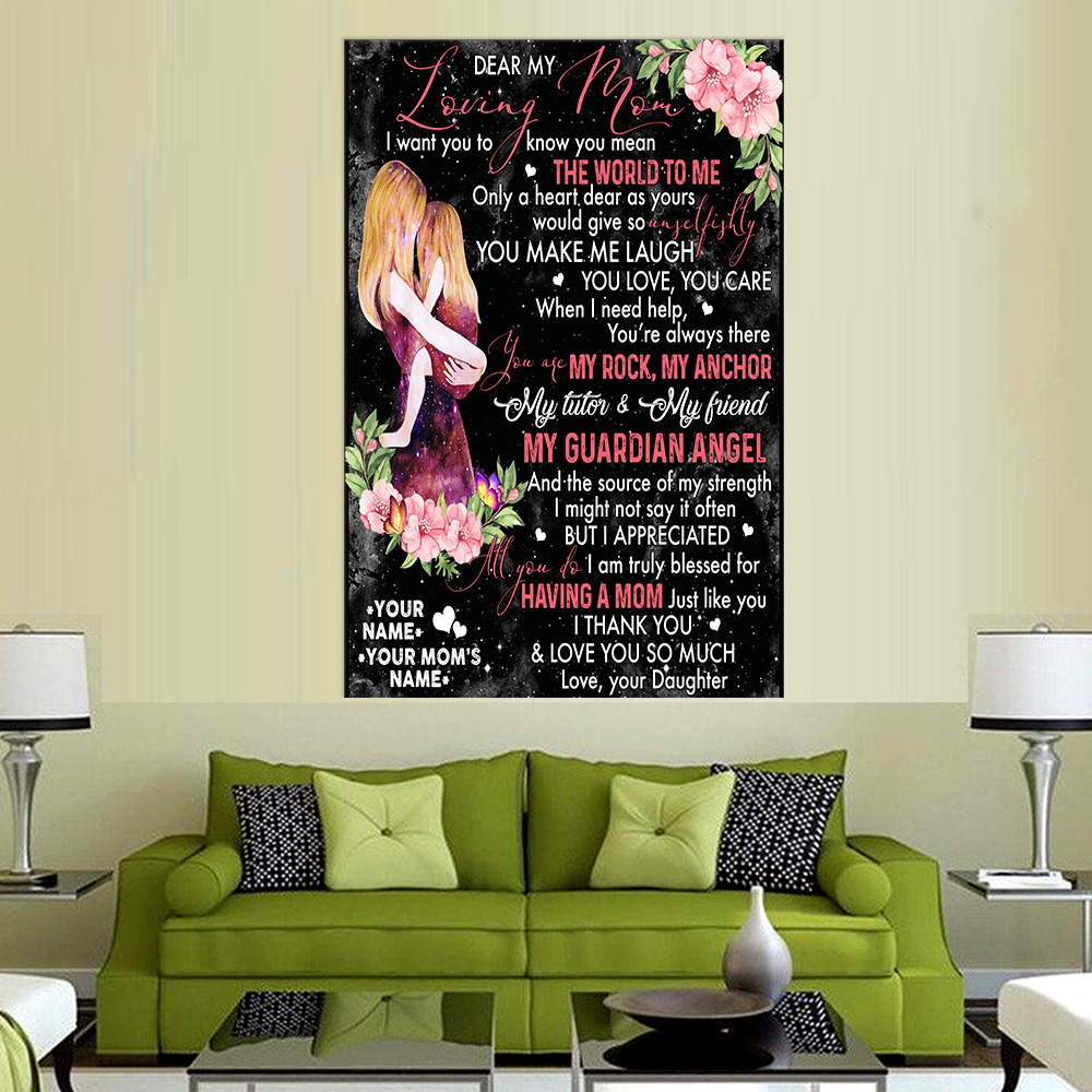 Personalized Lovely Wall Art Poster To My Mom You Make Me Laugh , You Love , You Care Pattern 1 Prints Decoracion Wall Art Picture Living Room Wall