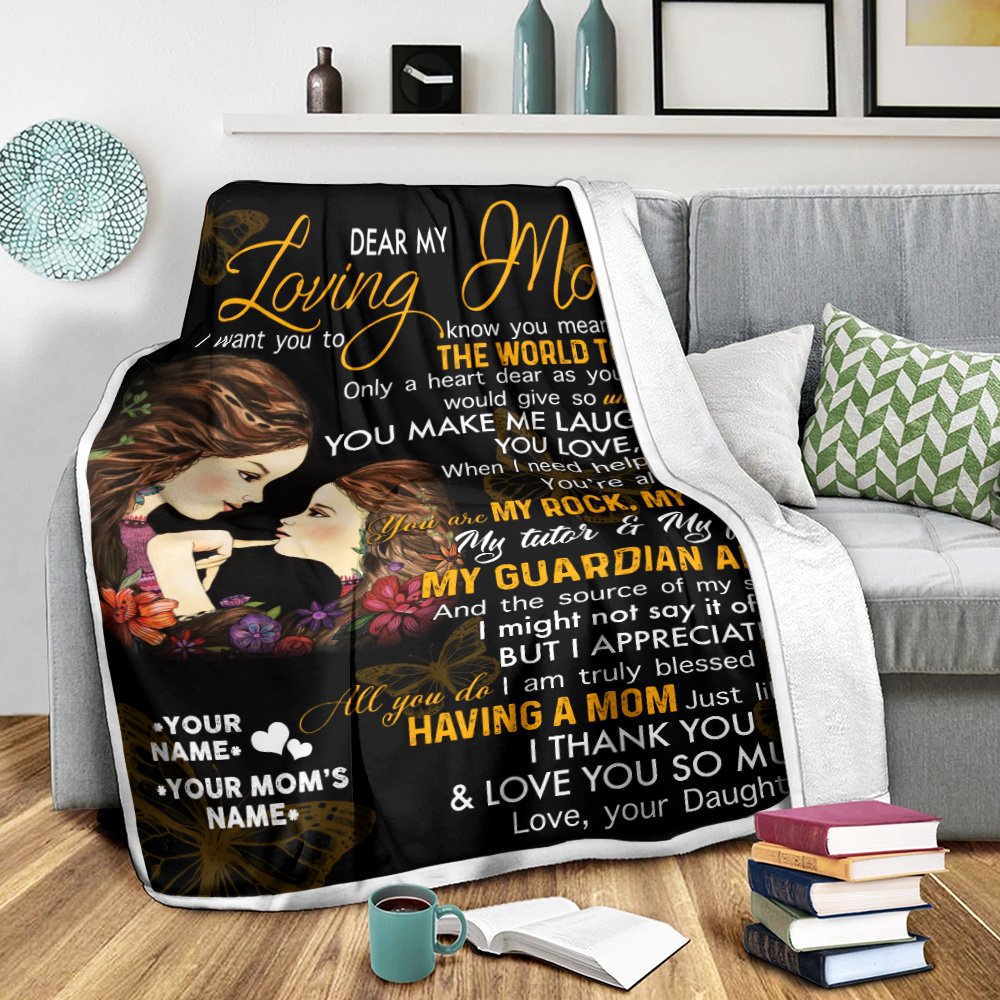 Personalized Lovely Fleece Throw Blanket To My Mom You Make Me Laugh , You Love , You Care Pattern 2 Lightweight Super Soft Cozy For Decorative Couch Sofa Bed