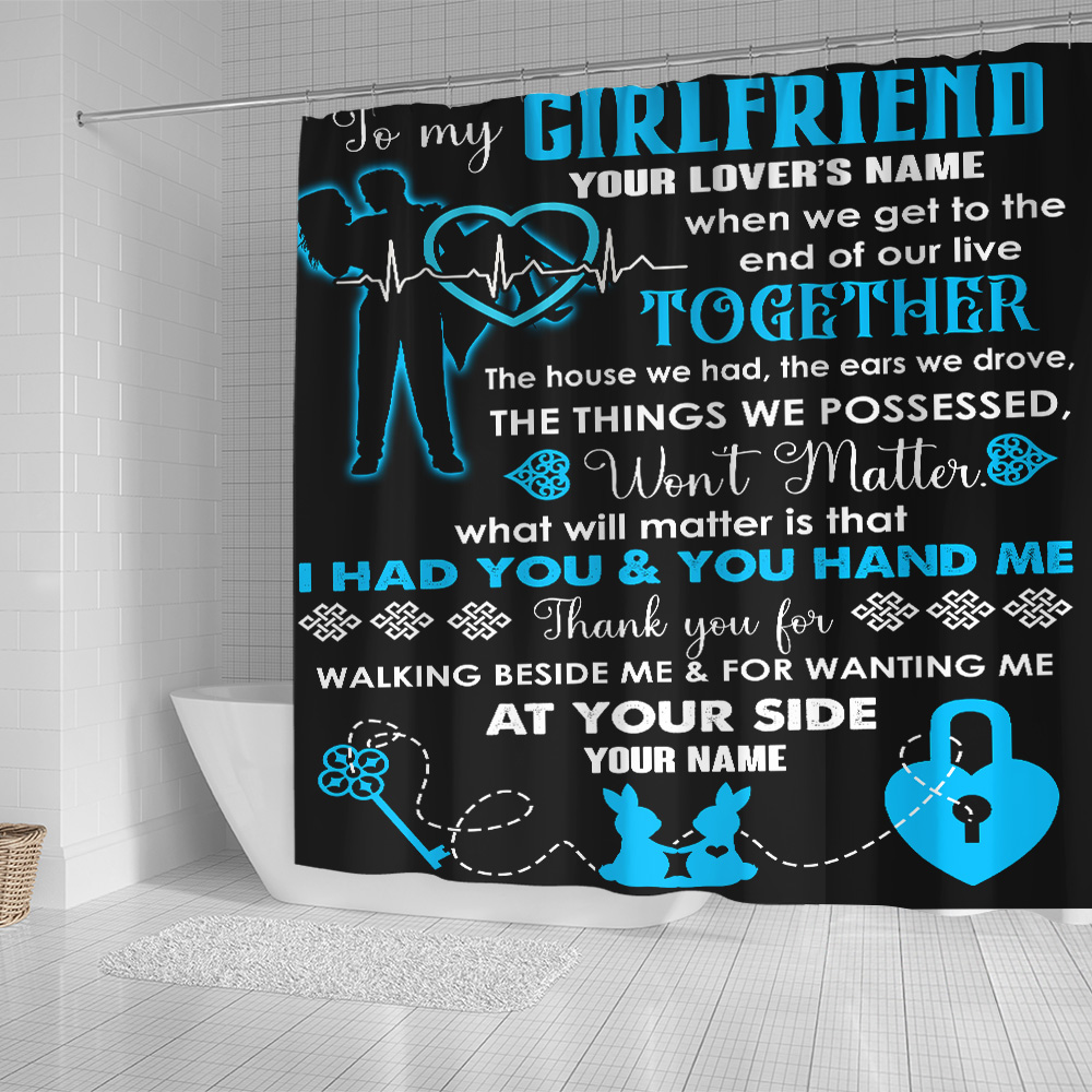 Personalized Lovely Shower Curtain To My Girlfriend Thank You For Walking Beside Me & For Wanting Me Pattern 2 Set 12 Hooks Decorative Bath Modern Bathroom Accessories Machine Washable
