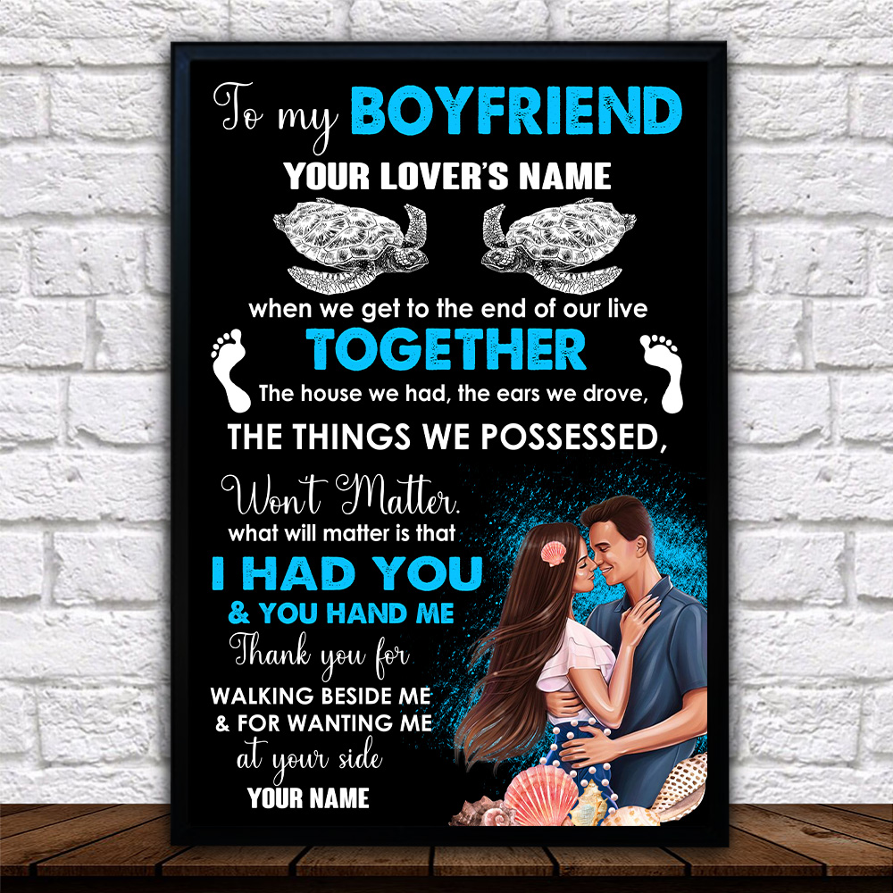 Personalized Lovely Wall Art Poster To My Boyfriend Thank You For Walking Beside Me & For Wanting Me Pattern 1 Prints Decoracion Wall Art Picture Living Room Wall