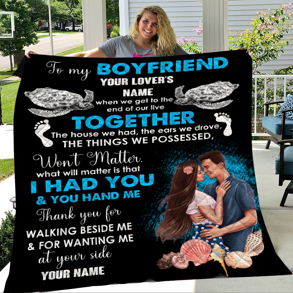 Personalized Lovely Quilt Throw Blanket To My Boyfriend Thank You For Walking Beside Me & For Wanting Me Pattern 1 Lightweight Super Soft Cozy For Decorative Couch Sofa Bed