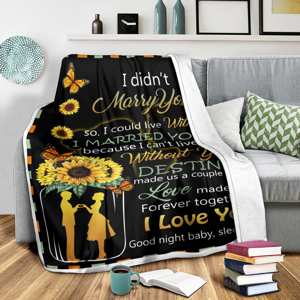 Personalized Fleece Throw Blanket I Didn't Marry You So I Could Live With You I Love You Good Night Baby, Sleep Tight Pattern 1 Lightweight Super Soft Cozy For Decorative Couch Sofa Bed