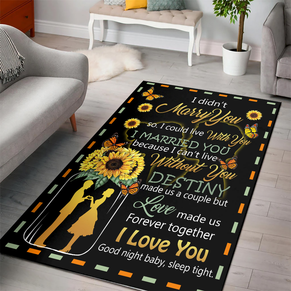 Personalized Floor Area Rugs I Didn't Marry You So I Could Live With You I Love You Good Night Baby, Sleep Tight Pattern 1 Indoor Home Decor Carpets Suitable For Children Living Room Bedroom Birthday Christmas Aniversary