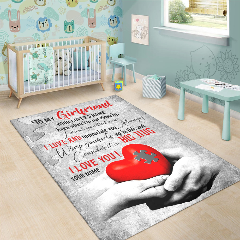Personalized Lovely To My Girlfriend I Want You To Know I Love And Appreciate You Pattern 1 Vintage Area Rug Anti-Skid Floor Carpet For Living Room Dinning Room Bedroom Office