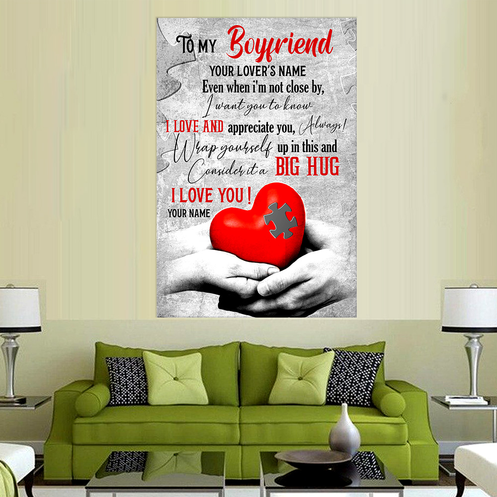 Personalized Lovely Wall Art Poster To My Boyfriend  I Want You To Know I Love And Appreciate You Pattern 1 Prints Decoracion Wall Art Picture Living Room Wall
