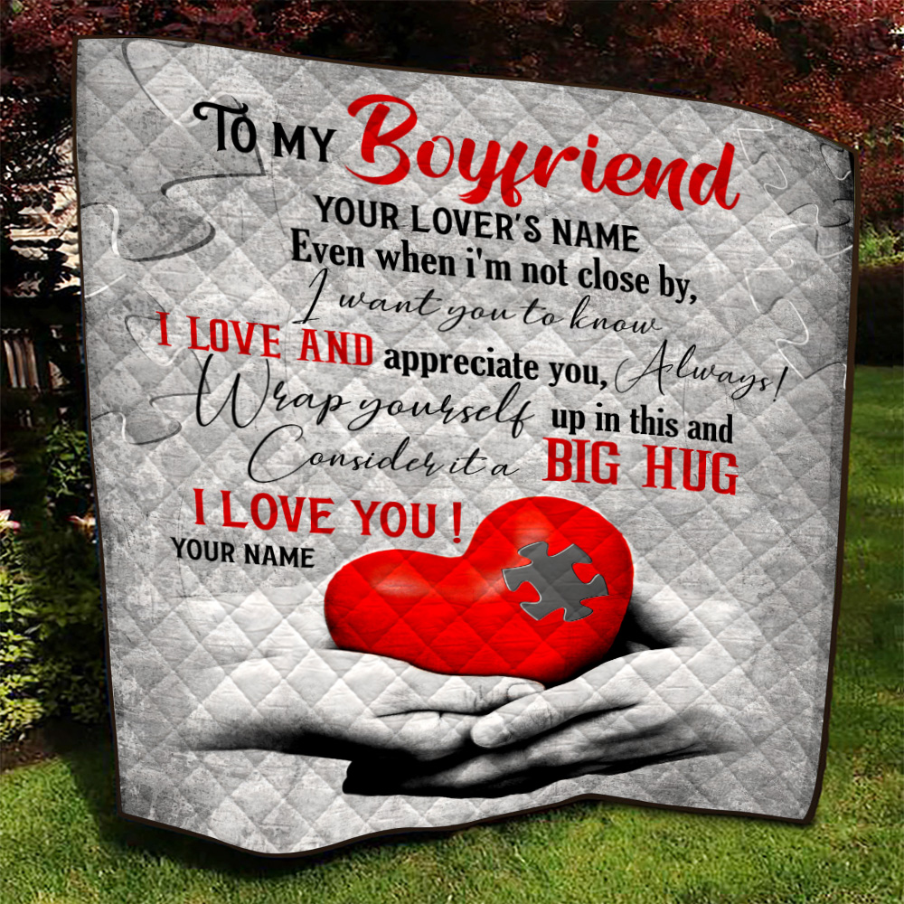 Personalized Lovely Quilt Throw Blanket To My Boyfriend  I Want You To Know I Love And Appreciate You Pattern 1 Lightweight Super Soft Cozy For Decorative Couch Sofa Bed