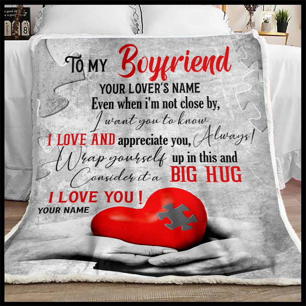Personalized Lovely Fleece Throw Blanket To My Boyfriend  I Want You To Know I Love And Appreciate You Pattern 1 Lightweight Super Soft Cozy For Decorative Couch Sofa Bed