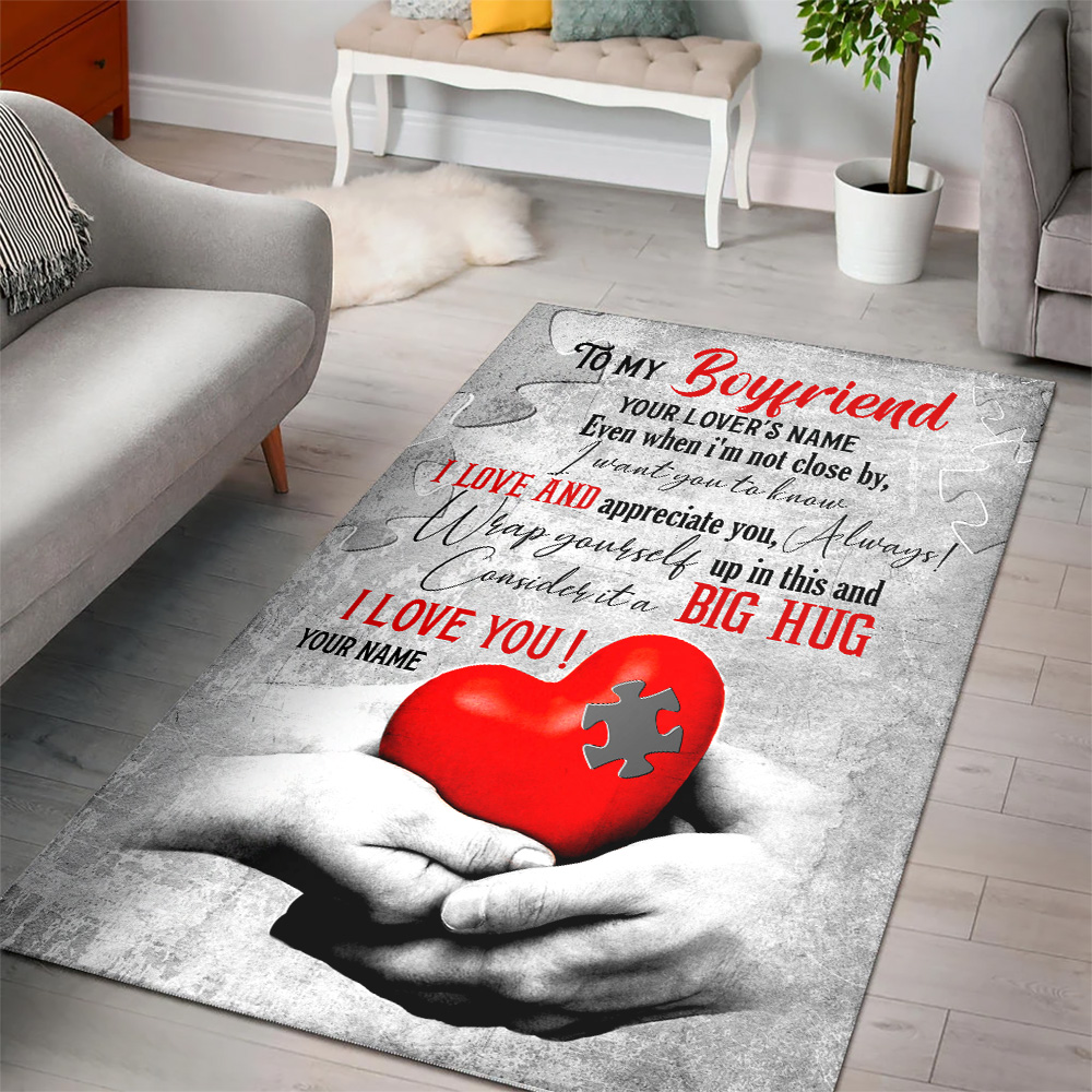 Personalized Lovely To My Boyfriend  I Want You To Know I Love And Appreciate You Pattern 2 Vintage Area Rug Anti-Skid Floor Carpet For Living Room Dinning Room Bedroom Office
