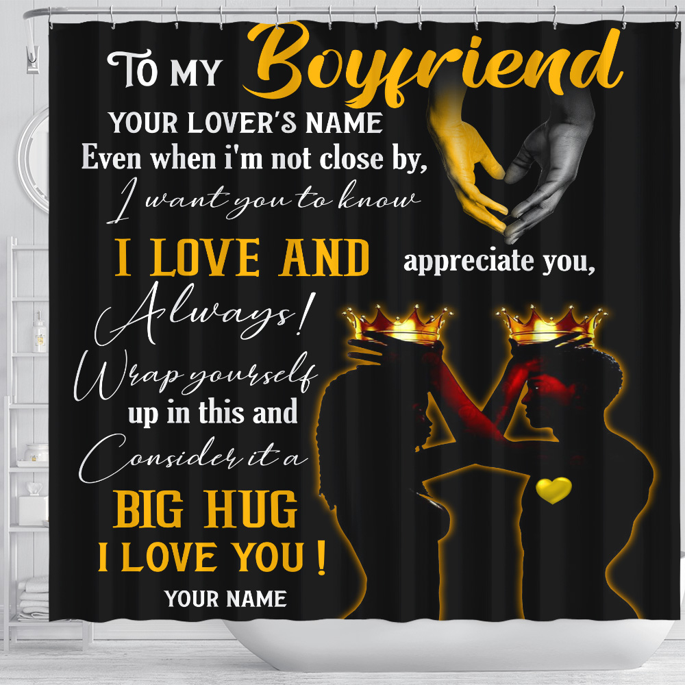 Personalized Lovely Shower Curtain To My Boyfriend  I Want You To Know I Love And Appreciate You Pattern 2 Set 12 Hooks Decorative Bath Modern Bathroom Accessories Machine Washable