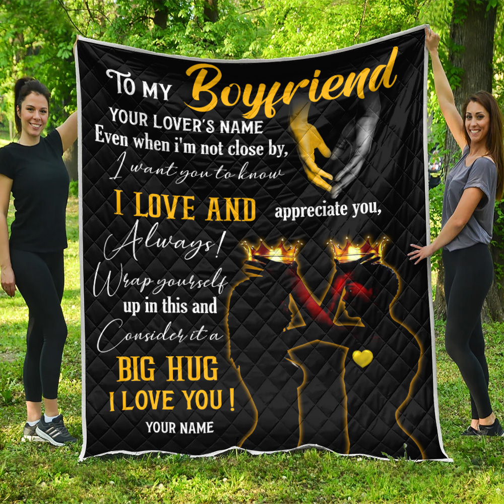 Personalized Lovely Quilt Throw Blanket To My Boyfriend  I Want You To Know I Love And Appreciate You Pattern 2 Lightweight Super Soft Cozy For Decorative Couch Sofa Bed