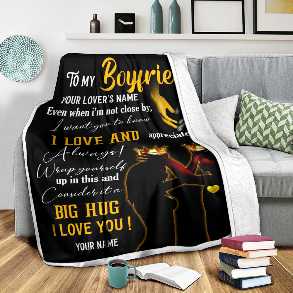 Personalized Lovely Fleece Throw Blanket To My Boyfriend  I Want You To Know I Love And Appreciate You Pattern 2 Lightweight Super Soft Cozy For Decorative Couch Sofa Bed