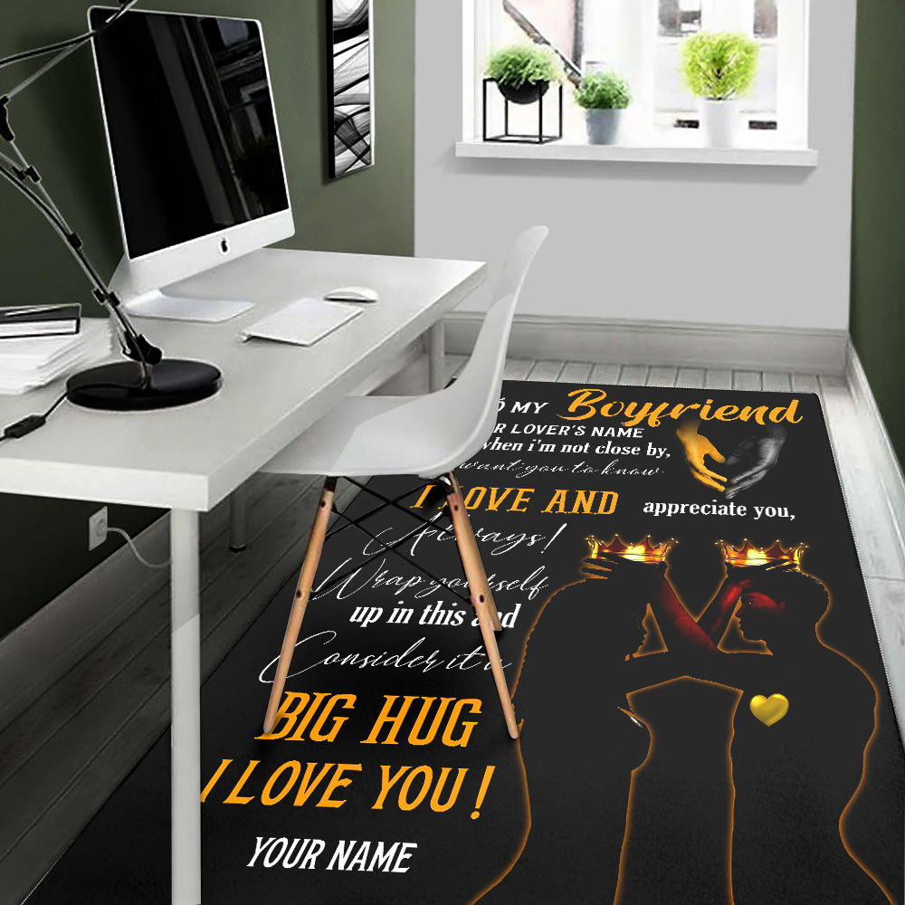 Personalized Lovely To My Boyfriend  I Want You To Know I Love And Appreciate You Pattern 1 Vintage Area Rug Anti-Skid Floor Carpet For Living Room Dinning Room Bedroom Office