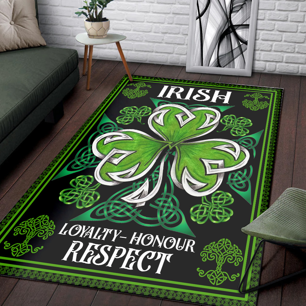 Personalized Lovely St Patrick's Day Loyalty Honour Respect Pattern 1 Vintage Area Rug Anti-Skid Floor Carpet For Living Room Dinning Room Bedroom Office