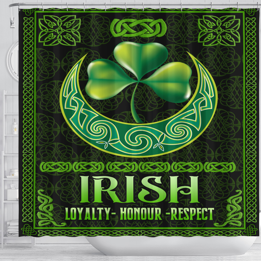 Personalized Lovely Shower Curtain St Patrick's Day Loyalty Honour Respect Pattern 2 Set 12 Hooks Decorative Bath Modern Bathroom Accessories Machine Washable
