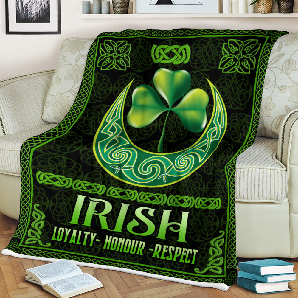 Personalized Lovely Fleece Throw Blanket St Patrick's Day Loyalty Honour Respect Pattern 2 Lightweight Super Soft Cozy For Decorative Couch Sofa Bed