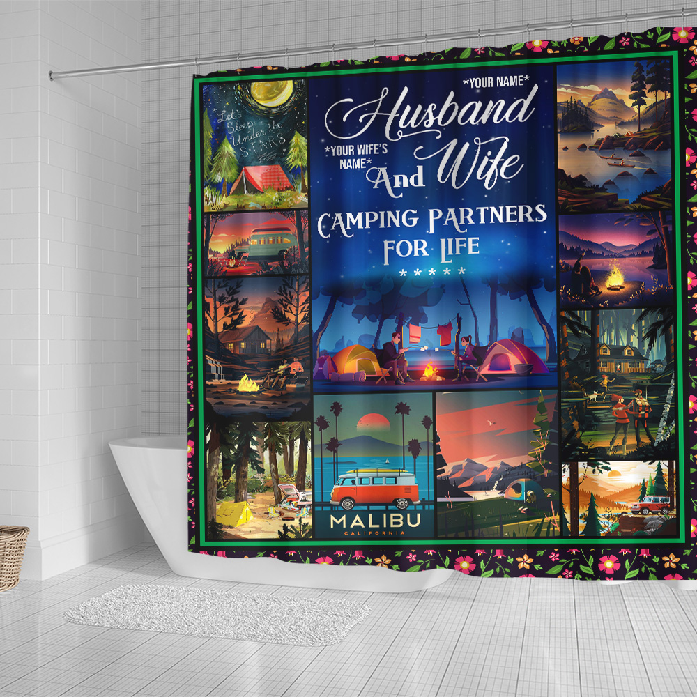 Personalized Shower Curtain 71 X 71 Inch Husband And Wife Camping Partners For Life Pattern 1 Set 12 Hooks Decorative Bath Modern Bathroom Accessories Machine Washable
