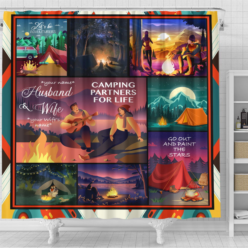 Personalized Shower Curtain 71 X 71 Inch Husband And Wife Camping Partners For Life Pattern 2 Set 12 Hooks Decorative Bath Modern Bathroom Accessories Machine Washable