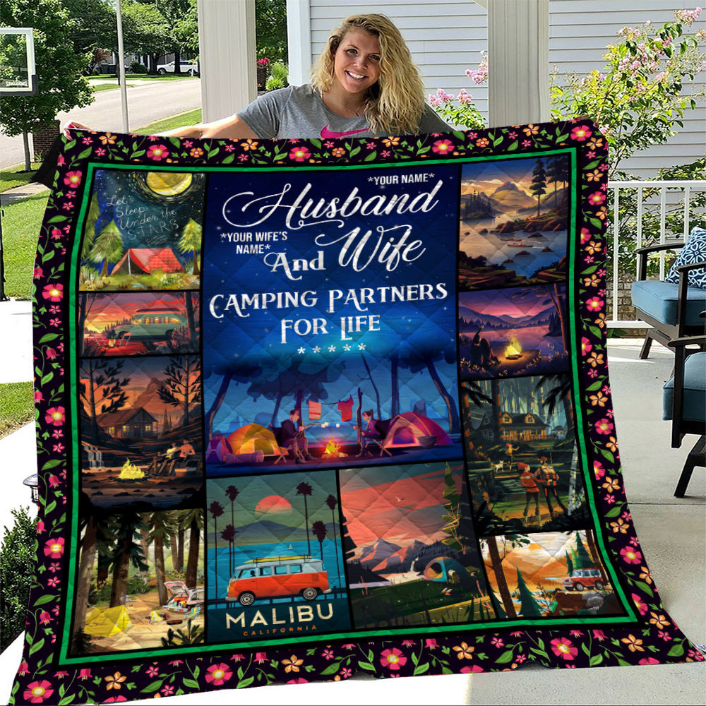 Personalized Quilt Throw Blanket Husband And Wife Camping Partners For Life Pattern 1 Lightweight Super Soft Cozy For Decorative Couch Sofa Bed