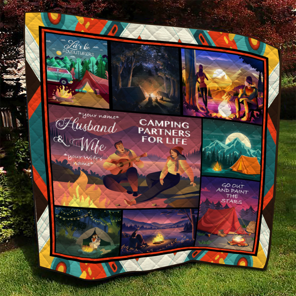 Personalized Quilt Throw Blanket Husband And Wife Camping Partners For Life Pattern 2 Lightweight Super Soft Cozy For Decorative Couch Sofa Bed