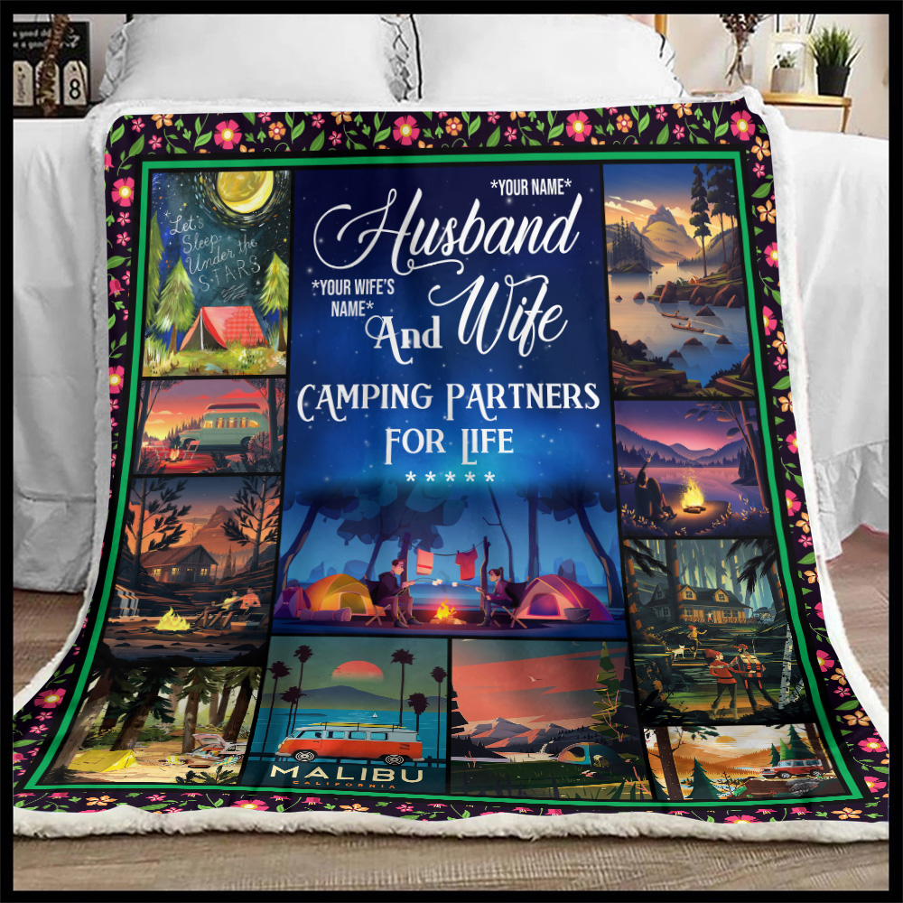 Personalized Fleece Throw Blanket Husband And Wife Camping Partners For Life Pattern 1 Lightweight Super Soft Cozy For Decorative Couch Sofa Bed
