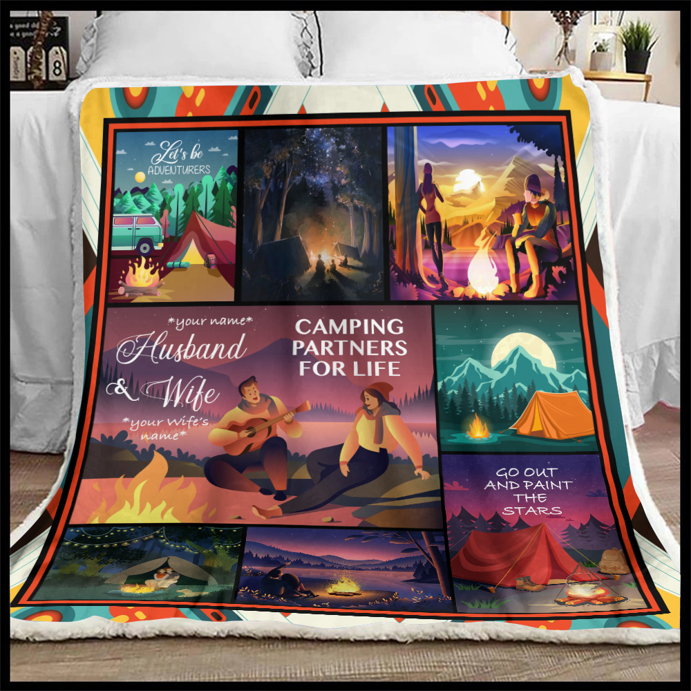 Personalized Fleece Throw Blanket Husband And Wife Camping Partners For Life Pattern 2 Lightweight Super Soft Cozy For Decorative Couch Sofa Bed
