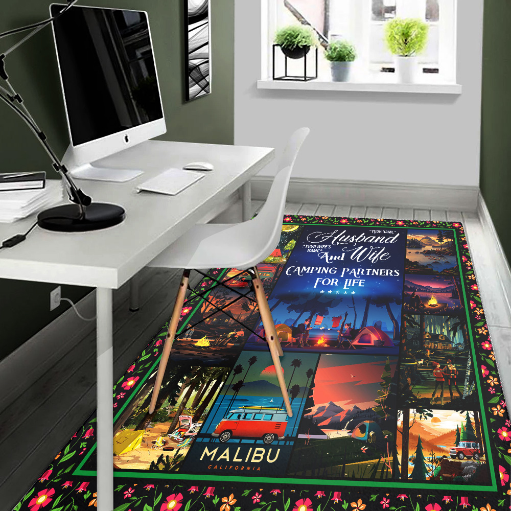 Personalized Floor Area Rugs Husband And Wife Camping Partners For Life Pattern 1 Indoor Home Decor Carpets Suitable For Children Living Room Bedroom Birthday Christmas Aniversary