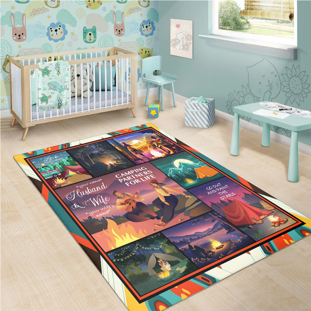 Personalized Floor Area Rugs Husband And Wife Camping Partners For Life Pattern 2 Indoor Home Decor Carpets Suitable For Children Living Room Bedroom Birthday Christmas Aniversary