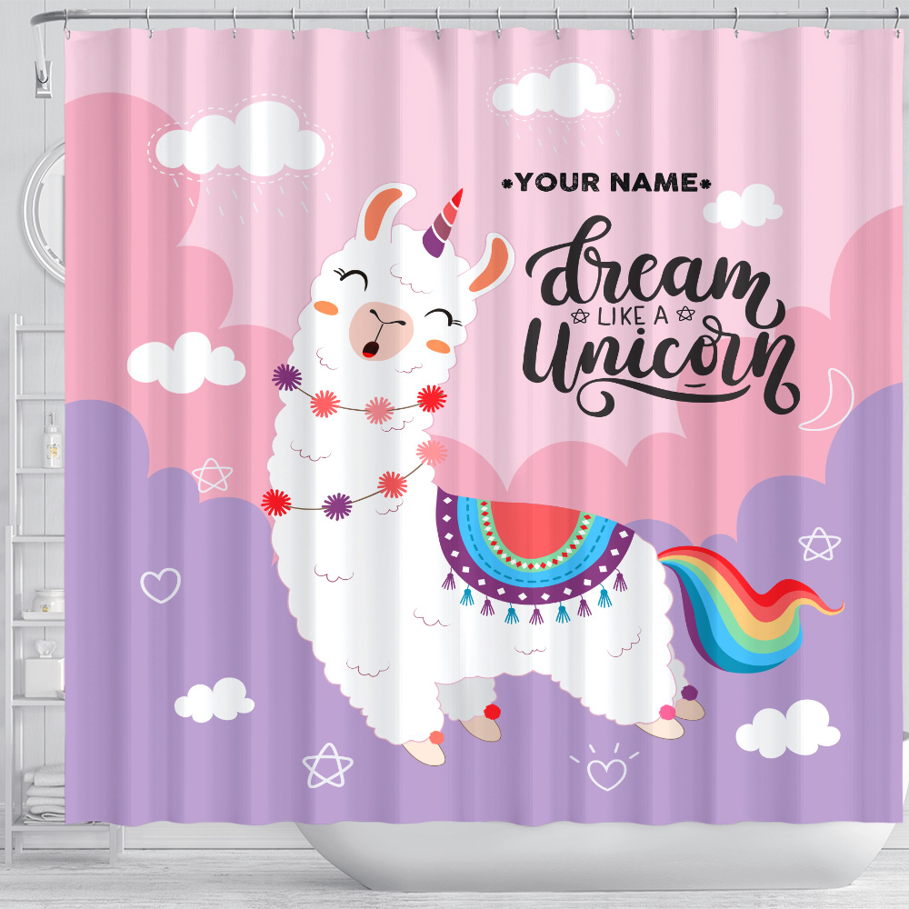 Personalized Shower Curtain 71 X 71 Inch Dream Like A Unicorn Pattern 1 Set 12 Hooks Decorative Bath Modern Bathroom Accessories Machine Washable