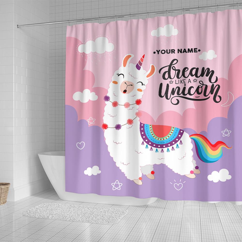 Personalized Shower Curtain 71 X 71 Inch Dream Like A Unicorn Pattern 1 Set 12 Hooks Decorative Bath Modern Bathroom Accessories Machine Washable