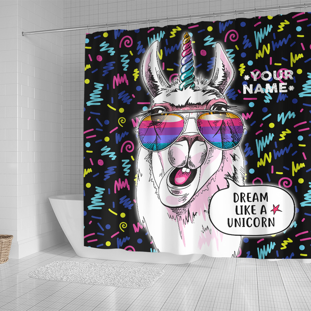 Personalized Shower Curtain 71 X 71 Inch Dream Like A Unicorn Pattern 2 Set 12 Hooks Decorative Bath Modern Bathroom Accessories Machine Washable