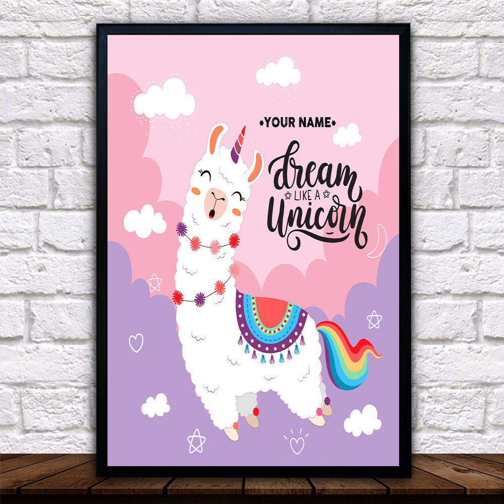 Personalized Wall Art Poster Canvas 1 Panel Dream Like A Unicorn Pattern 1 Great Idea For Living Home Decorations Birthday Christmas Aniversary