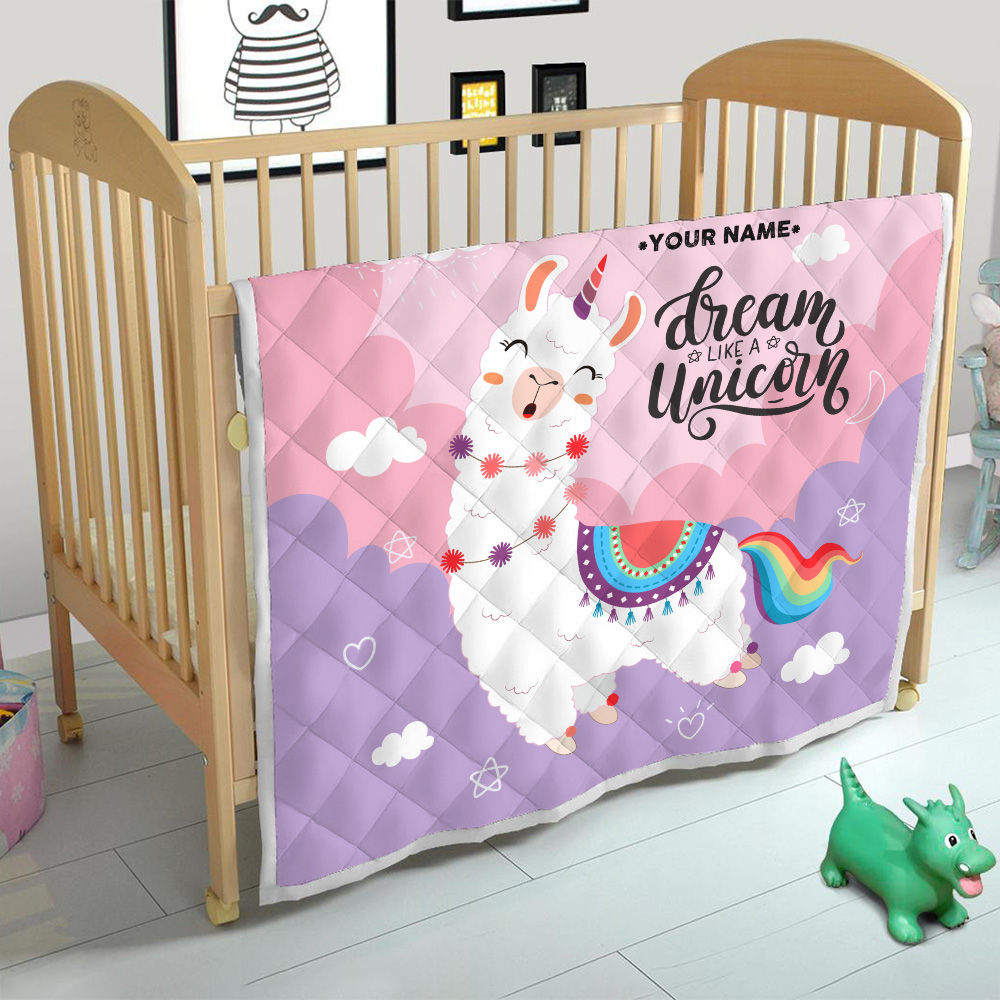 Personalized Quilt Throw Blanket Dream Like A Unicorn Pattern 1 Lightweight Super Soft Cozy For Decorative Couch Sofa Bed