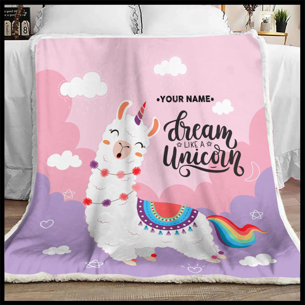 Personalized Fleece Throw Blanket Dream Like A Unicorn Pattern 1 Lightweight Super Soft Cozy For Decorative Couch Sofa Bed